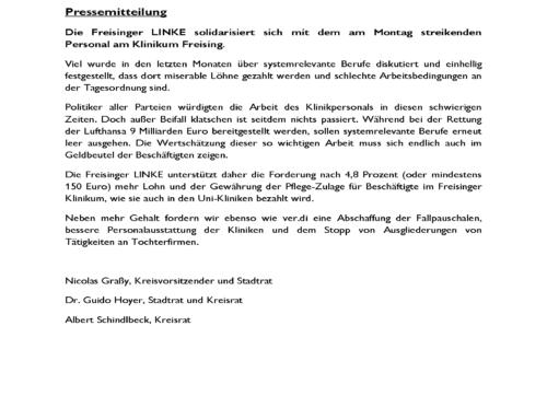 Pressemitteilung – Die Freisinger LINKE solidarisiert sich mit dem am Montag streikenden Personal am Klinikum Freising