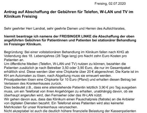 Antrag auf Abschaffung der Gebühren für Telefon, W-LAN und TV im Klinikum Freising