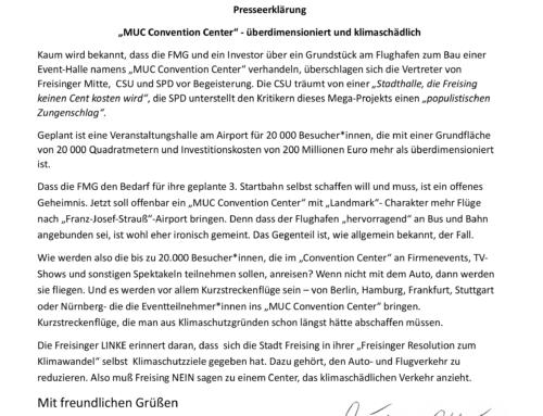 """Presseerklärung """"MUC Convention Center"""" – überdimensioniert und klimaschädlich"""