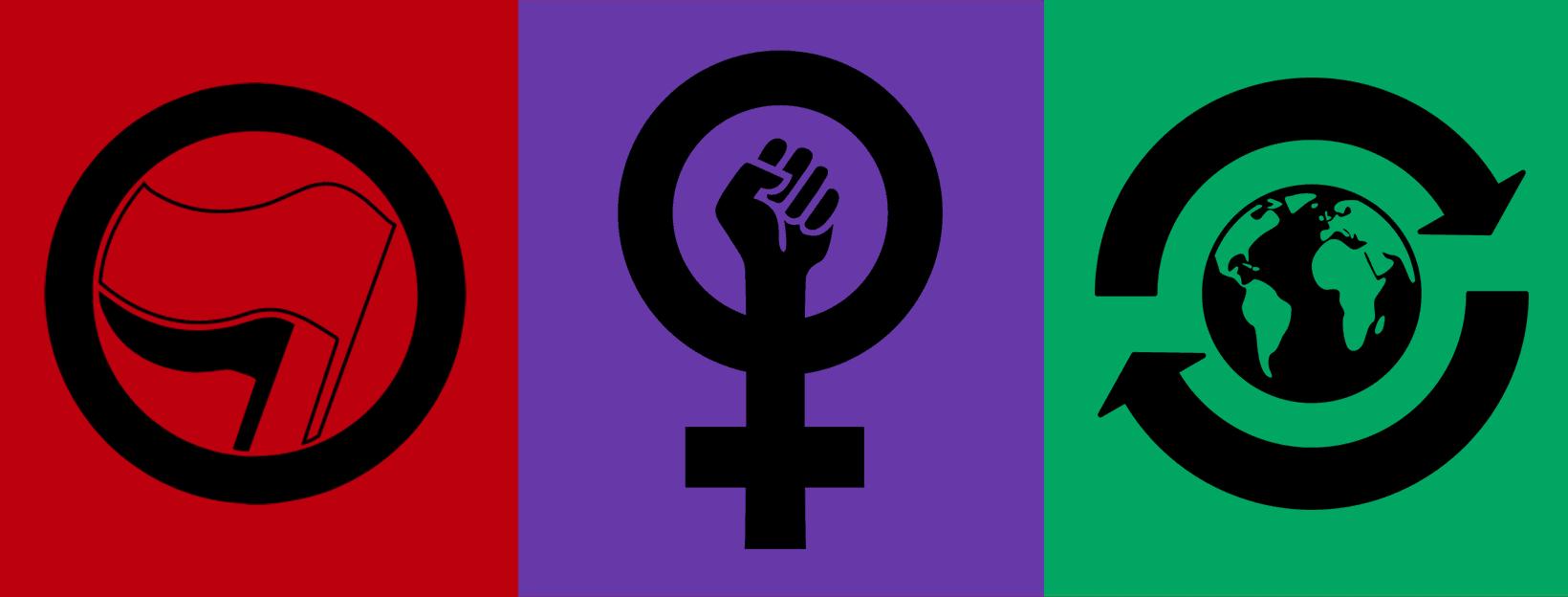 Junge LINKE Freising - Werte Grafik Antifaschismus, Feminismus und Klimagerechtigkeit